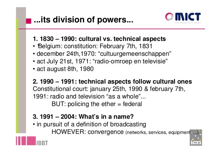 ...its division of powers...  1. 1830 – 1990: cultural vs. technical aspects •°Belgium: constitution: February 7th, 1831 •...