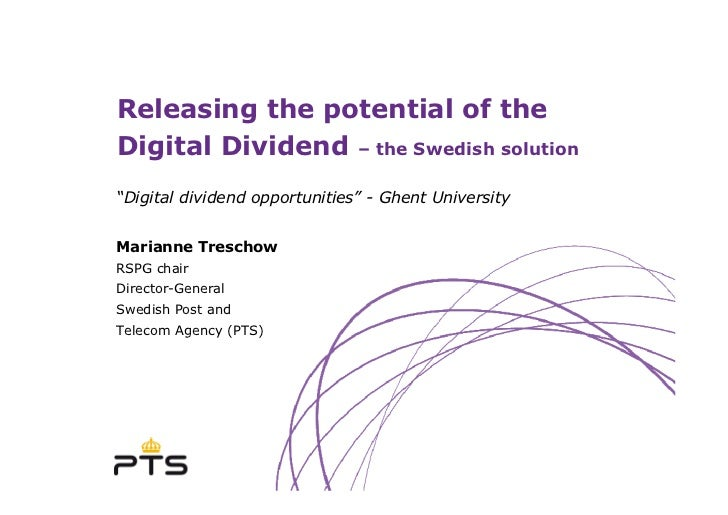 """Releasing the potential of the Digital Dividend – the Swedish solution """"Digital dividend opportunities"""" - Ghent University..."""