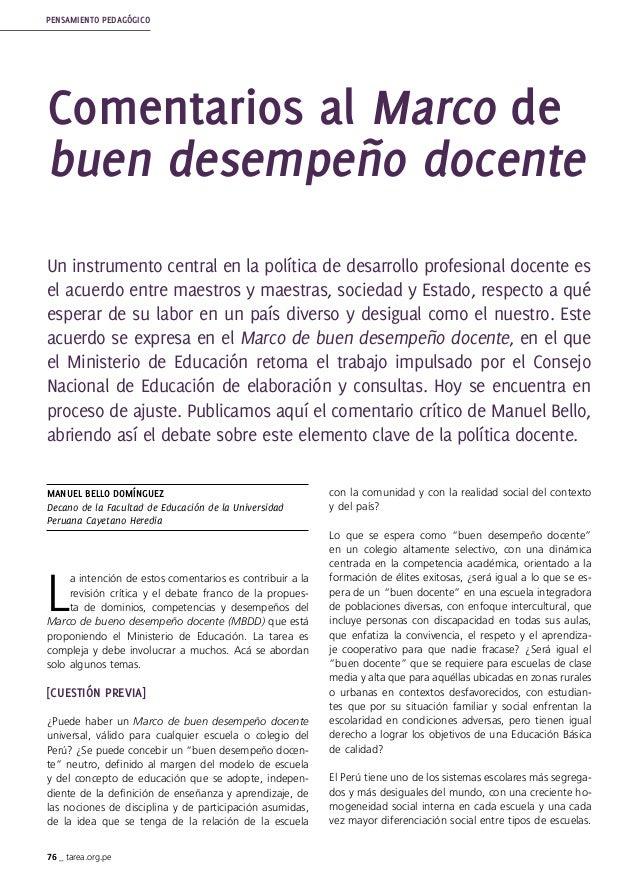 76 _ tarea.org.pe PENSAMIENTO PEDAGÓGICO Manuel Bello DOMÍNGUEZ Decano de la Facultad de Educación de la Universidad Perua...