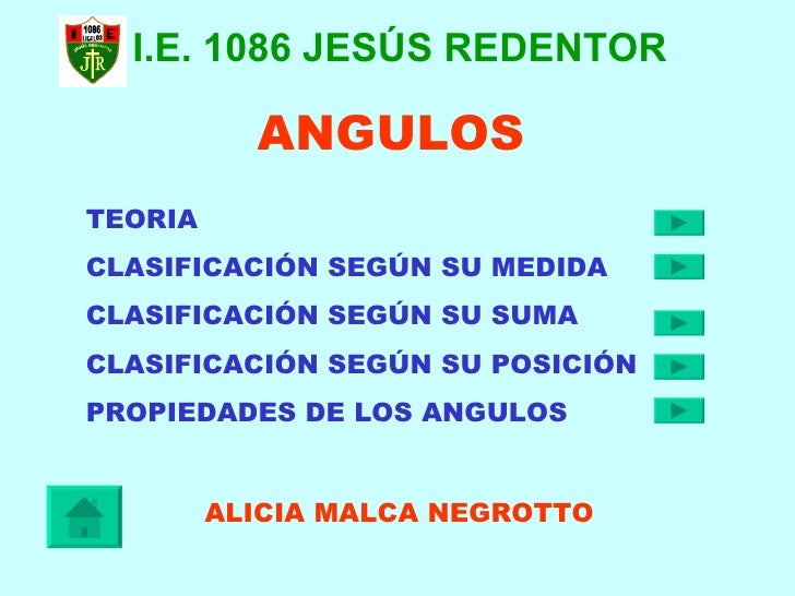 ANGULOS TEORIA  CLASIFICACIÓN SEGÚN SU MEDIDA  CLASIFICACIÓN SEGÚN SU SUMA  CLASIFICACIÓN SEGÚN SU POSICIÓN  PROPIEDADES D...