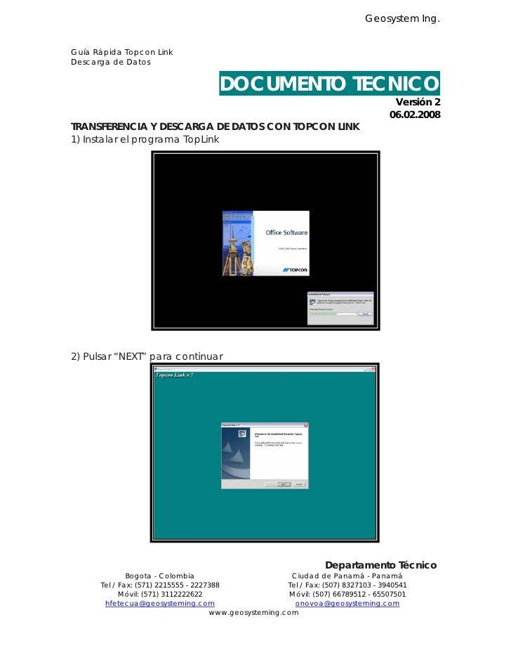 Geosystem Ing.   Guía Rápida Topcon Link Descarga de Datos                                         DOCUMENTO TECNICO      ...