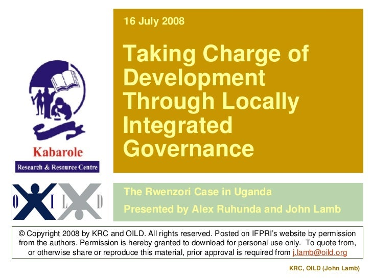 16 July 2008                                Taking Charge of                              Development                     ...