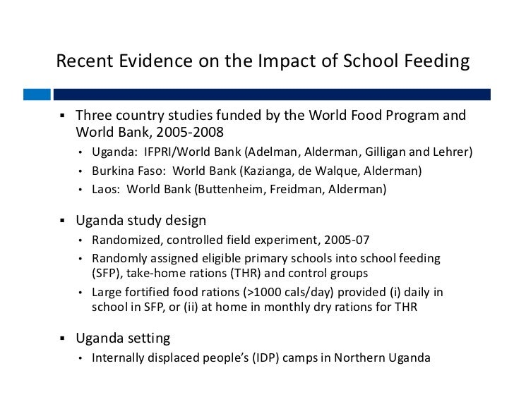 effects of the school feeding programme Researches have shown that, the school feeding programme has a significant  impact on attendance and retention resulting in positive impact of the programme.
