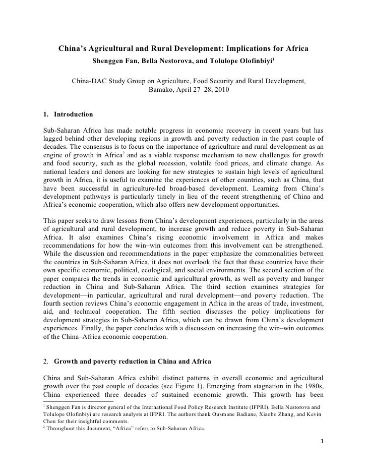 China's Agricultural and Rural Development: Implications for Africa                     Shenggen Fan, Bella Nestorova, and...