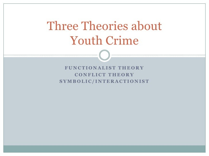 Functionalist theory<br />Conflict theory <br />Symbolic/interactionist<br />Three Theories aboutYouth Crime<br />