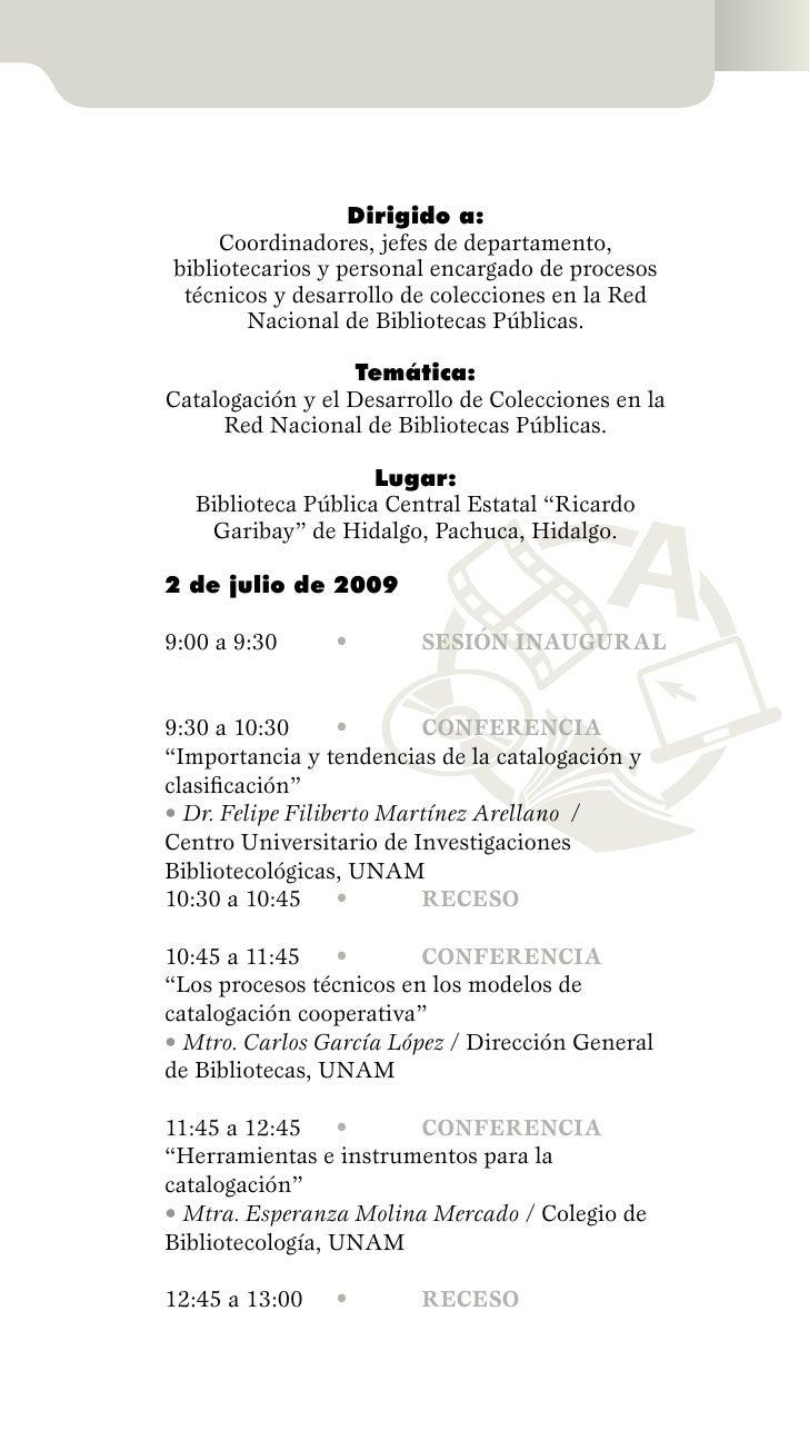 Programa del seminario sobre catalogaci n y desarrollo de for Colecciones en red