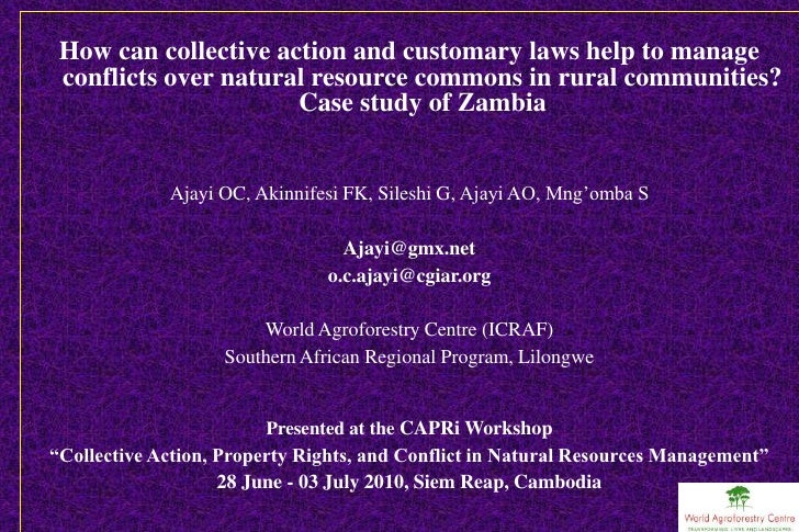 How can collective action and customary laws help to manage  conflicts over natural resource commons in rural communities?...