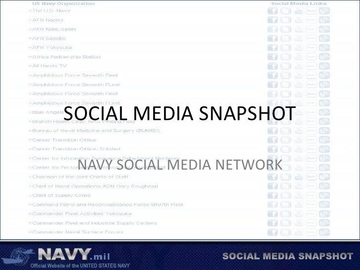 SOCIAL MEDIA SNAPSHOT<br />NAVY SOCIAL MEDIA NETWORK<br />