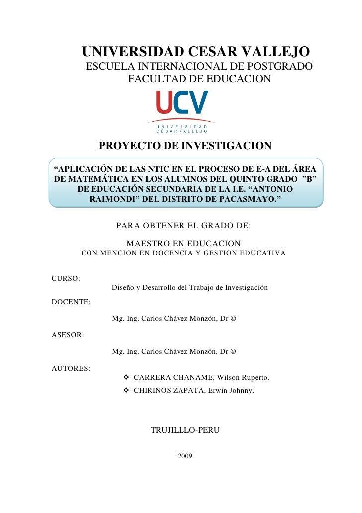 UNIVERSIDAD CESAR VALLEJO           ESCUELA INTERNACIONAL DE POSTGRADO                 FACULTAD DE EDUCACION              ...