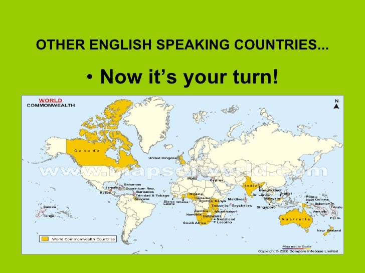 ENGLISH SPEAKING COUNTRIES - World map with countries and capitals in english