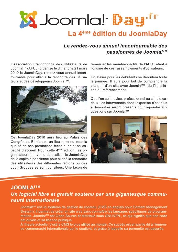 Joomladay 2010 - Bordeaux - Dossier de presse Slide 2