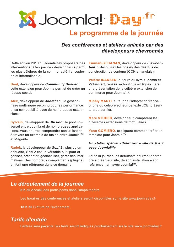 Joomladay 2010 - Bordeaux - Dossier de presse Slide 3