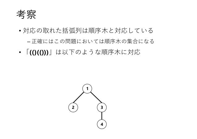 考察 • 対応の取れた括弧列は順序木と対応している – 正確にはこの問題においては順序木の集合になる • 「(()(()))」は以下のような順序木に対応 2 3 1 4