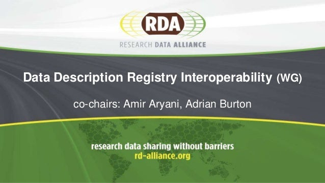 Data Description Registry Interoperability (WG) co-chairs: Amir Aryani, Adrian Burton