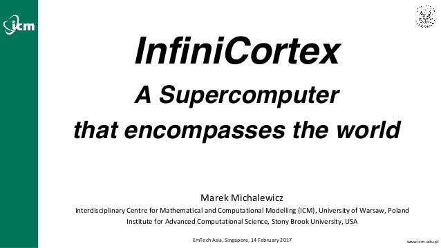 www.icm.edu.pl InfiniCortex A Supercomputer that encompasses the world Marek	Michalewicz Interdisciplinary	Centre	for	Math...