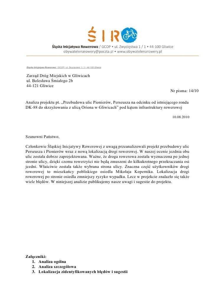 Śląska Inicjatywa Rowerowa / GCOP • ul. Zwycięstwa 1 / 1 • 44-100 Gliwice    Zarząd Dróg Miejskich w Gliwicach ul. Bolesła...