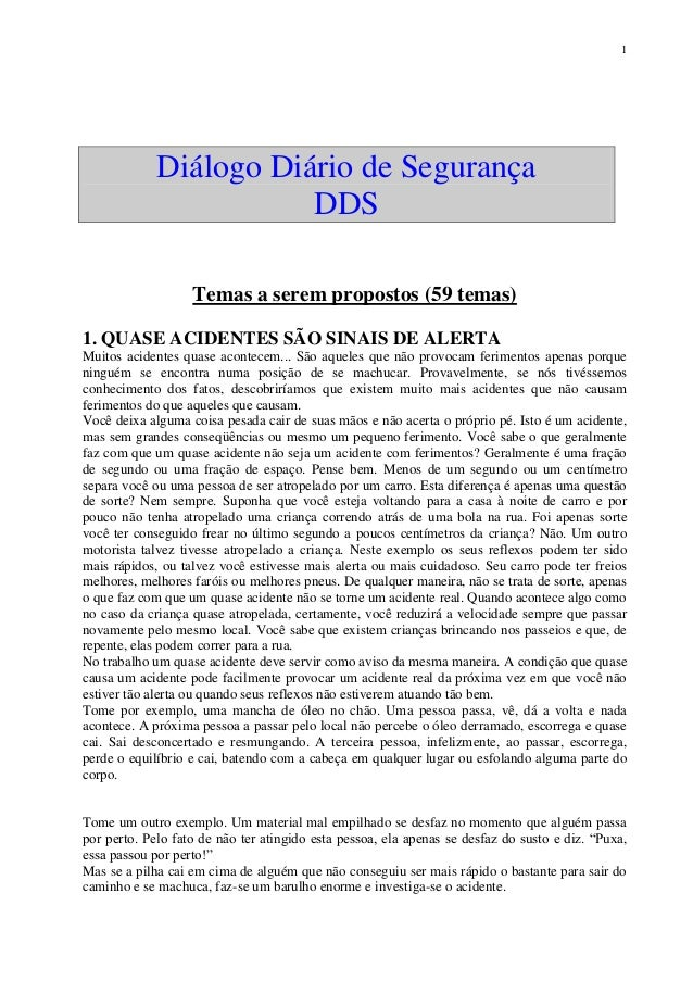 1 Diálogo Diário de Segurança DDS Temas a serem propostos (59 temas) 1. 2e9c8ffc9a