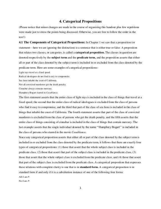 1 4. Categorical Propositions (Please notice that minor changes are made in the course of organizing this handout plus few...
