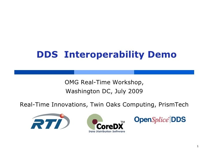 DDS Interoperability Demo              OMG Real-Time Workshop,              Washington DC, July 2009Real-Time Innovations,...