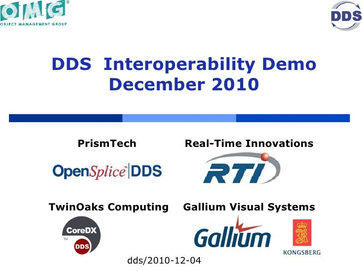 DDS  Interoperability Demo December 2010 dds/2010-12-04 PrismTech  Real-Time Innovations TwinOaks Computing Gallium Visual...