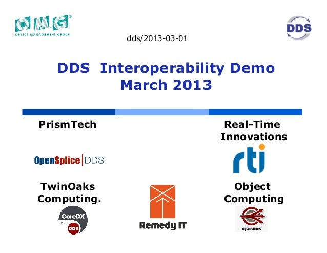 dds/2013-03-01   DDS Interoperability Demo         March 2013PrismTech                      Real-Time                     ...