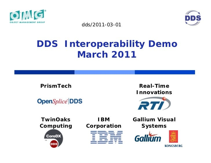 dds/2011-03-01DDS Interoperability Demo      March 2011PrismTech                      Real-Time                           ...