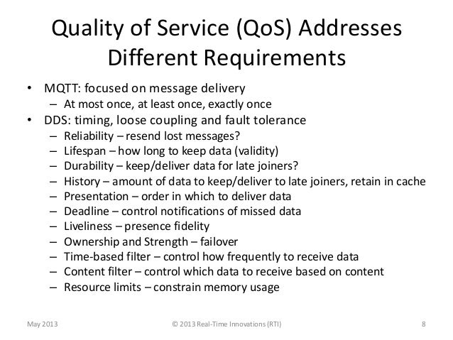 Quality of Service (QoS) AddressesDifferent Requirements• MQTT: focused on message delivery– At most once, at least once, ...