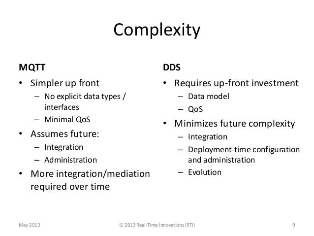 ComplexityMQTT• Simpler up front– No explicit data types /interfaces– Minimal QoS• Assumes future:– Integration– Administr...
