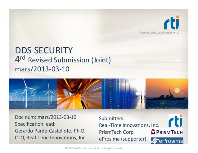 Your systems. Working as one. DDS SECURITY 4rd Revised Submission (Joint) mars/2013-‐03-‐10 Doc...