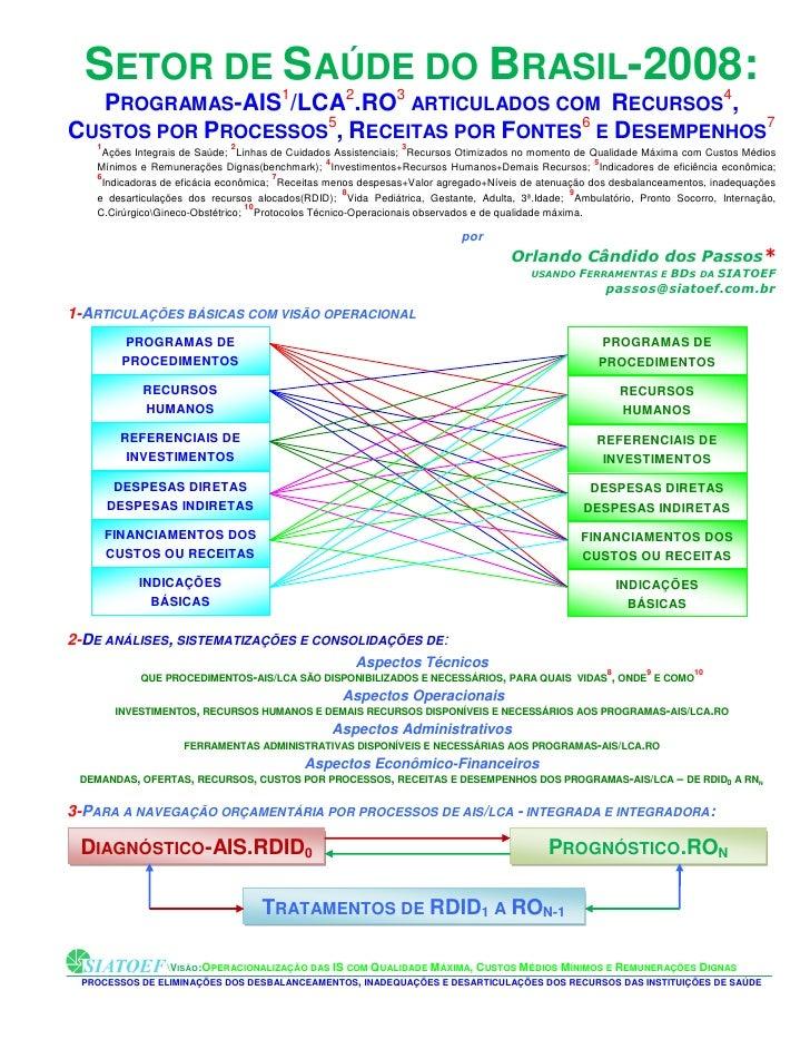 1-SETOR DE SAÚDE DO BRASIL-2008: PERFIL TÉCNICO-OPERACIONAL ENTRELAÇADO COM ECONÔMICO-FINANCEIRO.