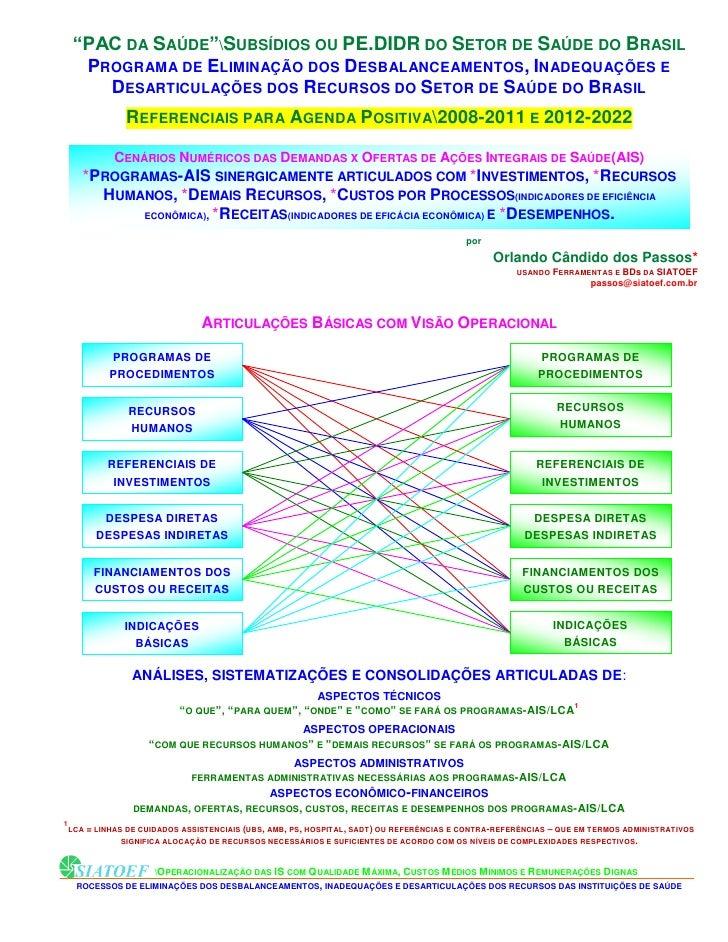 """""""PAC DA SAÚDE""""SUBSÍDIOS OU PE.DIDR DO SETOR DE SAÚDE DO BRASIL   PROGRAMA DE ELIMINAÇÃO DOS DESBALANCEAMENTOS, INADEQUAÇÕE..."""