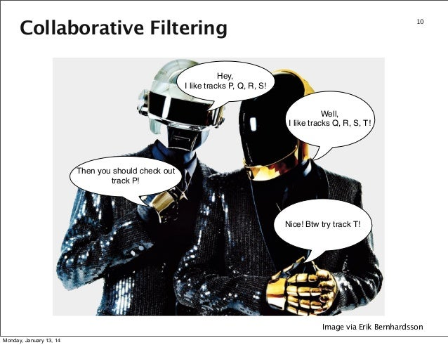 Collaborative Filtering  10  Hey, I like tracks P, Q, R, S! Well, I like tracks Q, R, S, T!  Then you should check out tra...