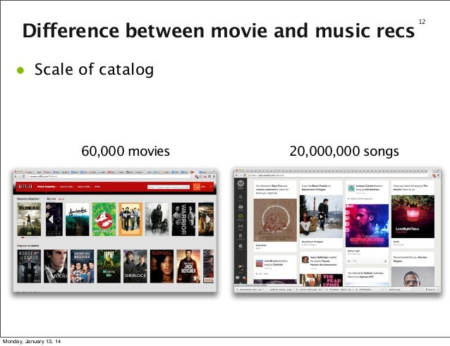 Difference between movie and music recs  •  Scale of catalog  60,000 movies  Monday, January 13, 14  20,000,000 songs  12