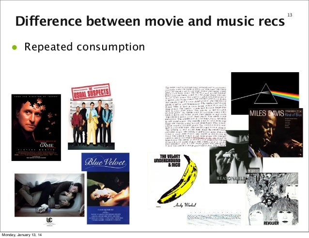 Difference between movie and music recs  •  Repeated consumption  Monday, January 13, 14  13