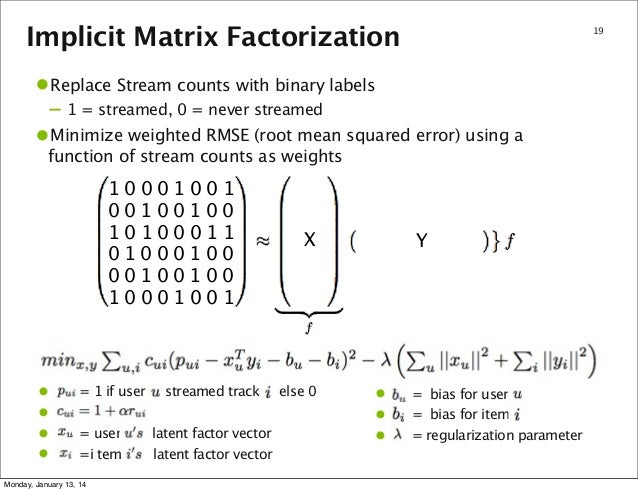 Implicit Matrix Factorization  19  •Replace Stream counts with binary labels – 1 = streamed, 0 = never streamed  •Minimize...