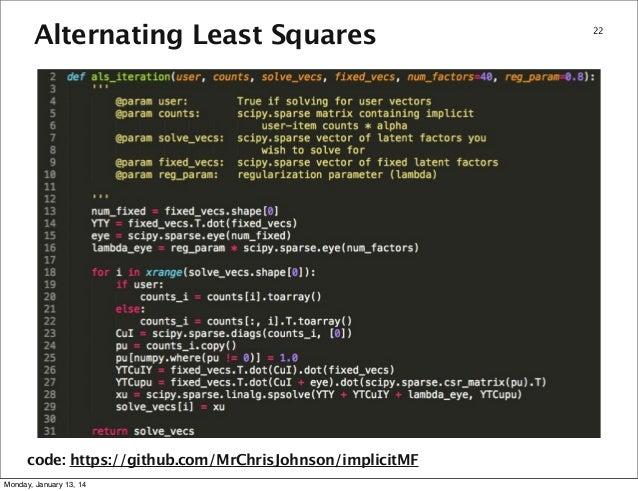 Alternating Least Squares code: https://github com