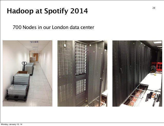 Hadoop at Spotify 2014 700 Nodes in our London data center  Monday, January 13, 14  28