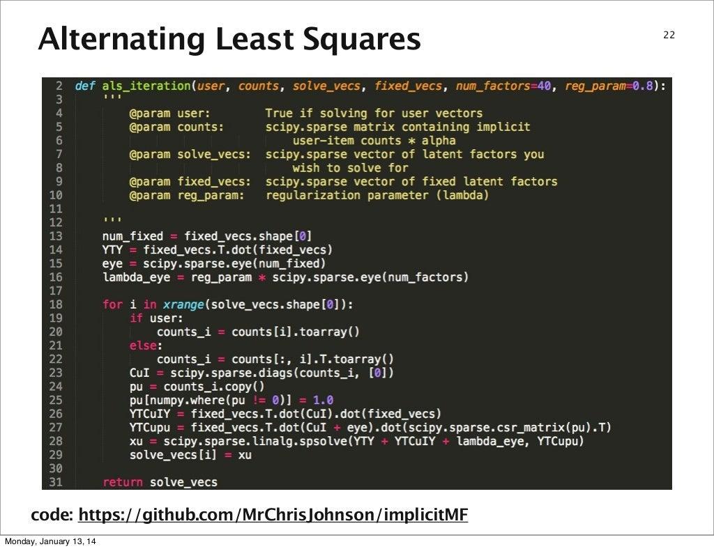 Alternating Least Squares code: https://github com/MrChrisJohnson/imp…