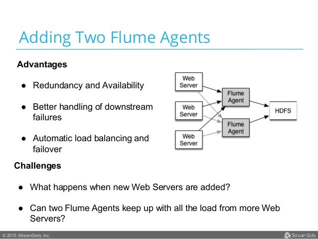 © 2015 StreamSets, Inc. Adding Two Flume Agents Advantages ● Redundancy and Availability ● Better handling of downstream...