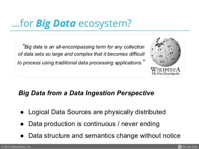 """© 2015 StreamSets, Inc. ...for Big Data ecosystem? """"Big data is an all-encompassing term for any collection of data sets s..."""