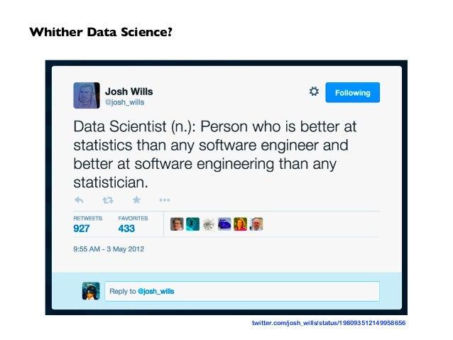Whither Data Science? twitter.com/josh_wills/status/198093512149958656