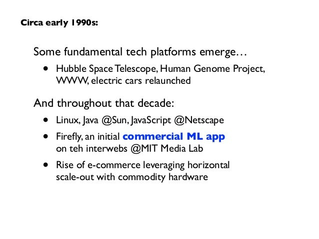 Some fundamental tech platforms emerge…  • Hubble Space Telescope, Human Genome Project, WWW, electric cars relaunched  ...