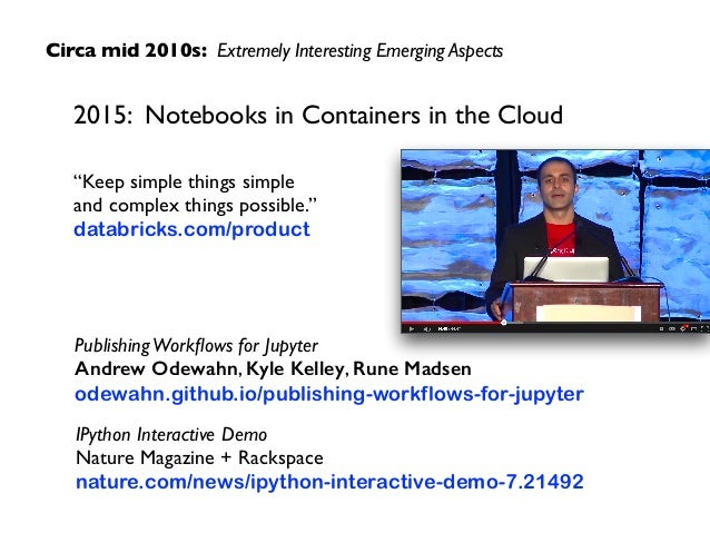 """Circa mid 2010s: Extremely Interesting Emerging Aspects 2015: Notebooks in Containers in the Cloud """"Keep simple things sim..."""