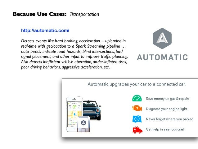 Because Use Cases: Transportation http://automatic.com/  ! Detects events like hard braking, acceleration – uploaded in r...