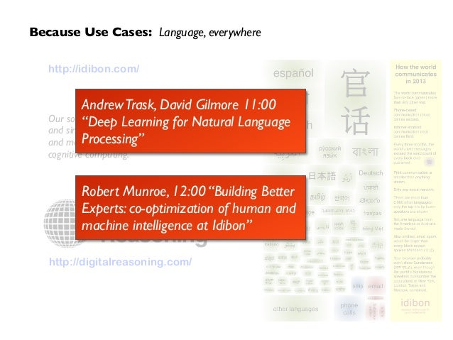 http://digitalreasoning.com/ Because Use Cases: Language, everywhere http://idibon.com/ ! ! ! Our social fabric is encoded...