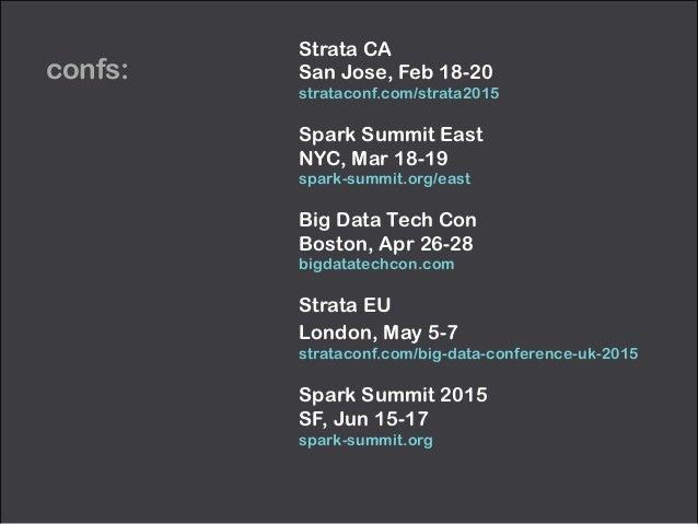 confs: Strata CA San Jose, Feb 18-20 strataconf.com/strata2015 Spark Summit East NYC, Mar 18-19 spark-summit.org/east ...