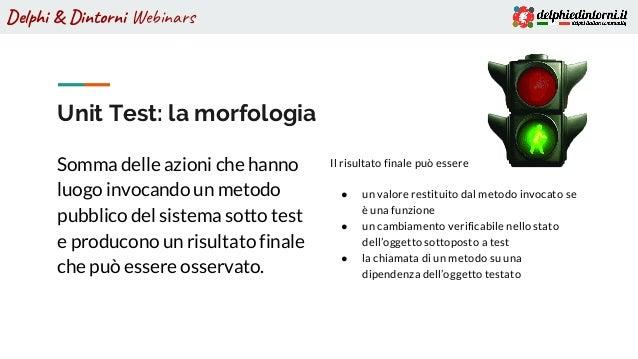Delphi & Dintorni Webinars Unit Test: la morfologia Somma delle azioni che hanno luogo invocando un metodo pubblico del si...
