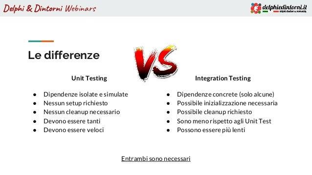 Delphi & Dintorni Webinars Le differenze Unit Testing ● Dipendenze isolate e simulate ● Nessun setup richiesto ● Nessun cl...