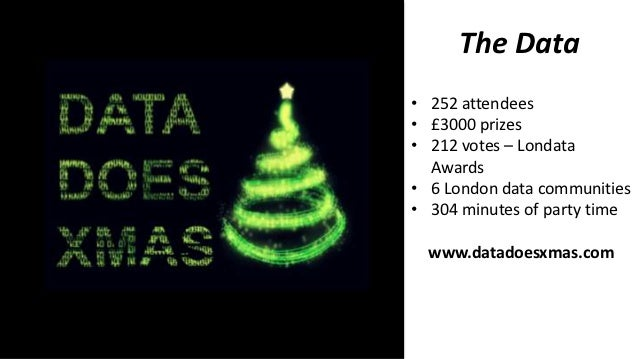 The Data• 252 attendees• £3000 prizes• 212 votes – Londata  Awards• 6 London data communities• 304 minutes of party time  ...
