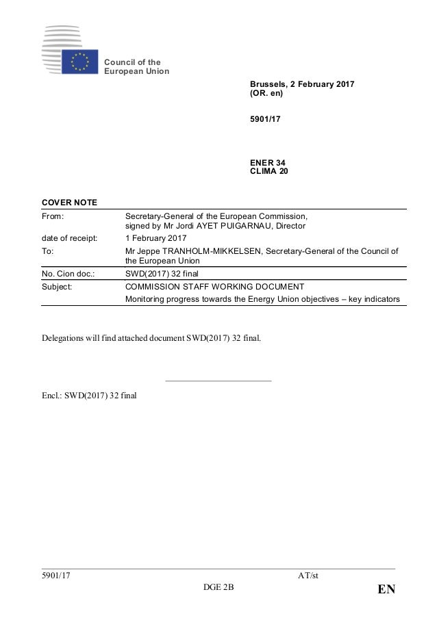 5901/17 AT/st DGE 2B EN Council of the European Union Brussels, 2 February 2017 (OR. en) 5901/17 ENER 34 CLIMA 20 COVER NO...